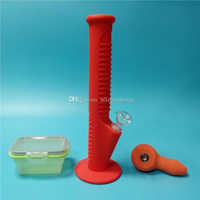 Red Silicone Water Pipes with Colorful Mini Silicone Hand Pipes with Big Silicone Wax Containers Free Shipping