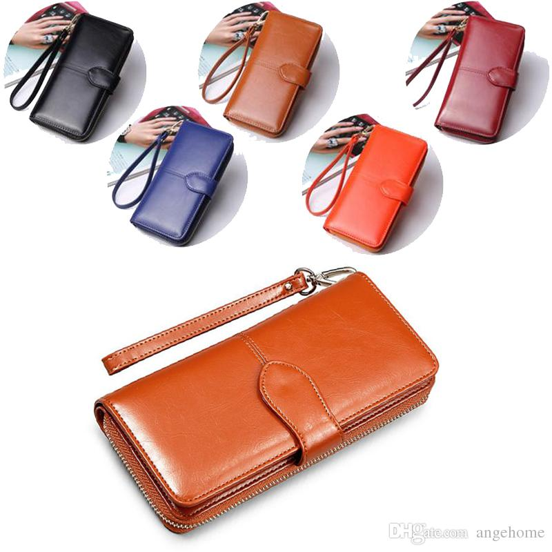 d1be37a495010 Large Capacity Fashion Women Wallets Long Wax Leather Wallet Female Zipper  Clutch Coin Purse Ladies Purse With Wristlet Snakeskin Wallet Female Wallets  From ...