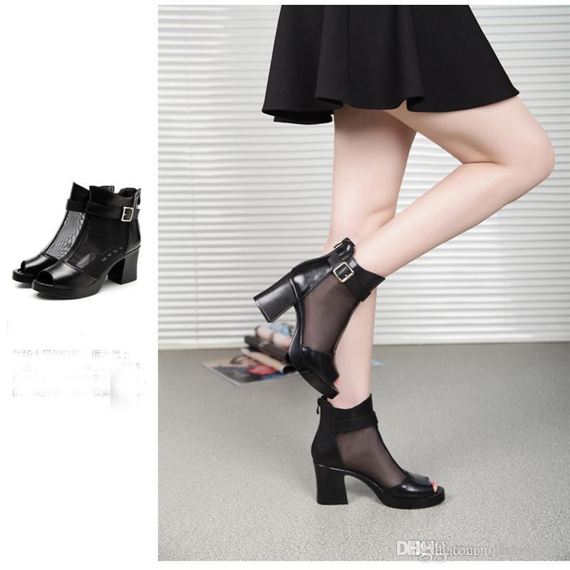 56c41e666714f2 Genuine Leather Black High Heel Sandals Summer Platform Shoes Fish Mouth  Sandals For Elegant Lady Female Slippers Plus Size 40 Wedge Boots  Comfortable Shoes ...