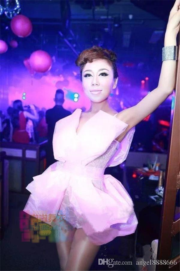 Big bow lace bodysuit sexy see-through jumpsuit stage dress female singer show nightclub bar costumes lead dance prom party performance wear