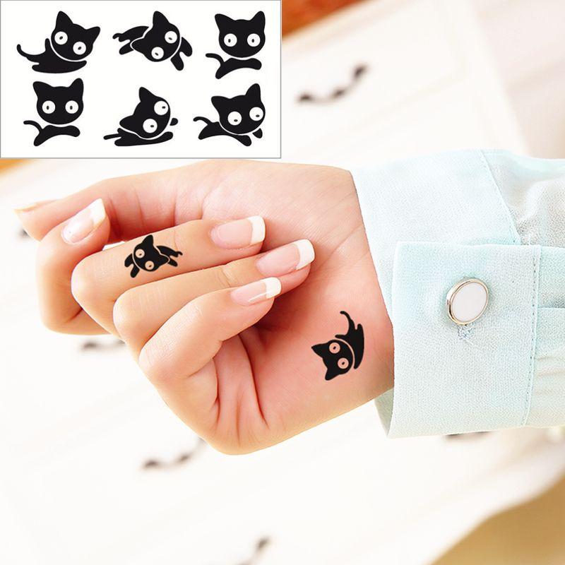 Acheter Gros Petit Chat Noir Flash Tatouage Autocollant A Main 10 5