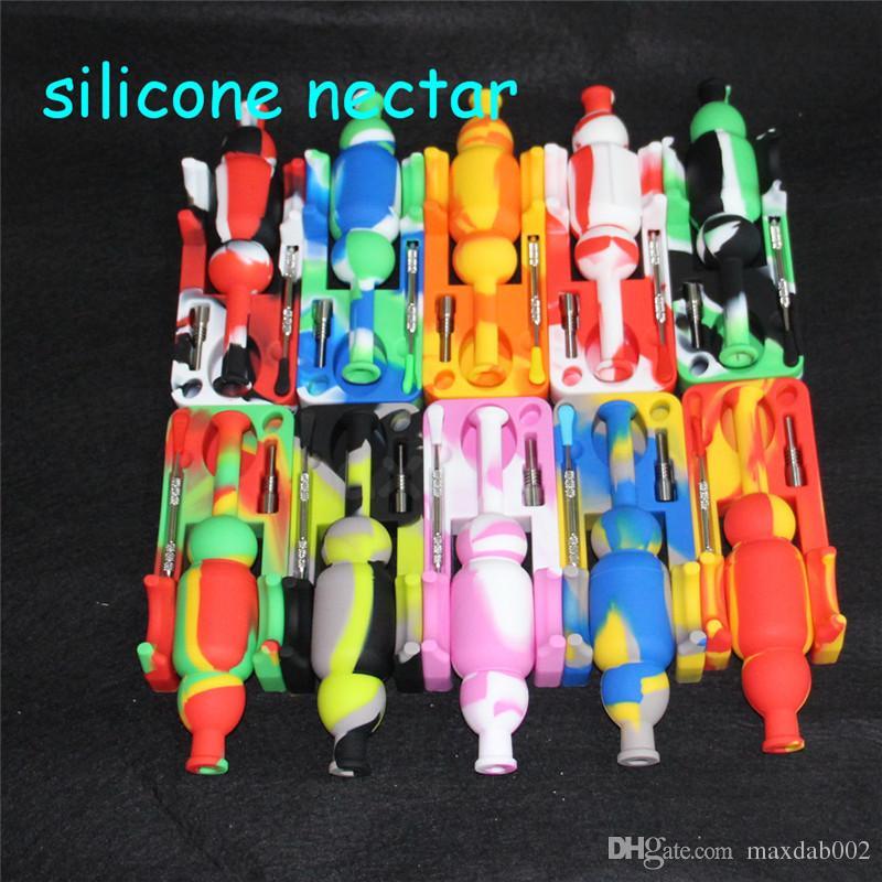 fumante Silicon Nettare Collector con 10mm Maschio Titanium Unghie DABBER STRUMENTI STRUMENTI SILICONE ACQUA ACQUA PIANTE TUBO DI ACQUA BUFFLER