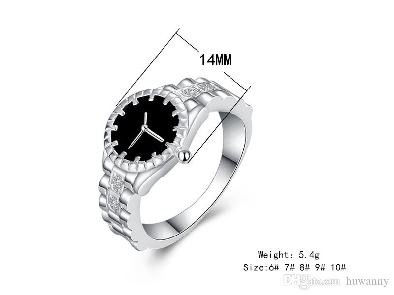 Silver Watch style Rings Hot Sale Crystal Finger Rings For Women Girl Party Fashion Jewelry Wholesale 0454WH