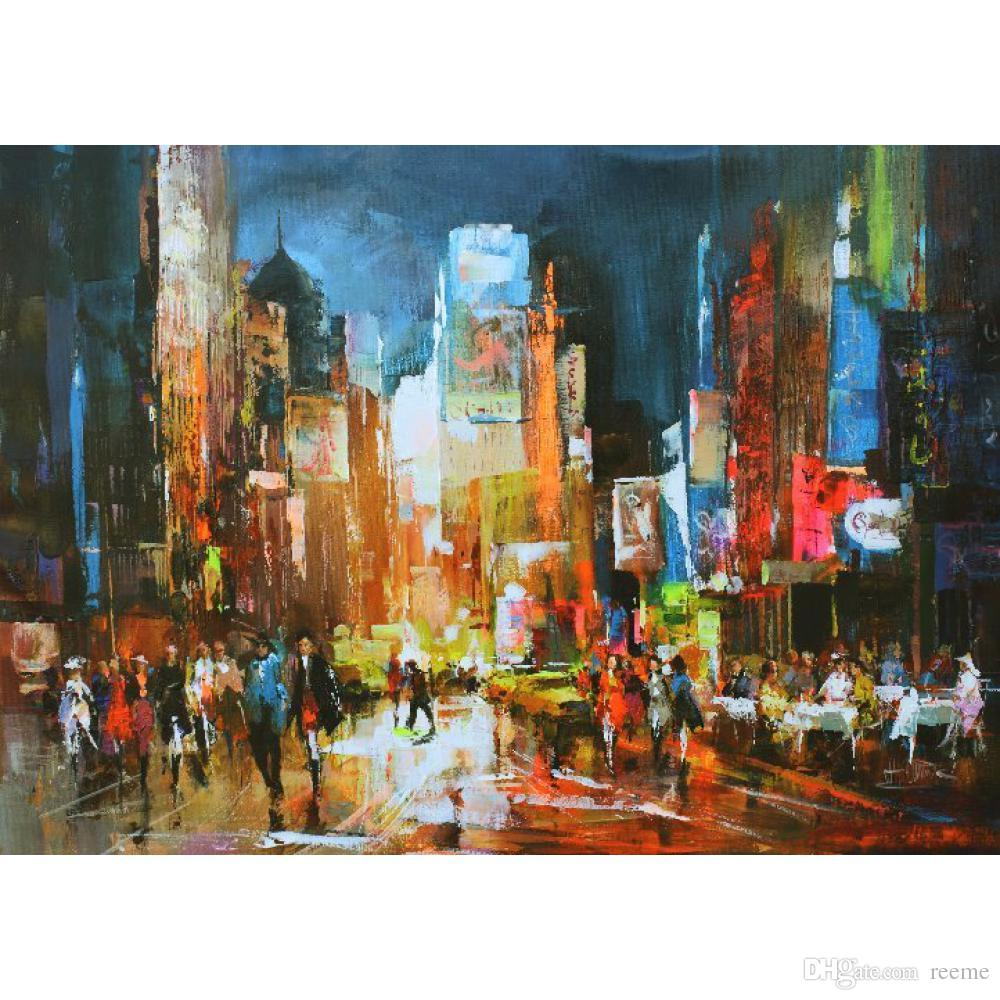 Toile led new york affordable noir et bleu n oil on - Toile led new york ...