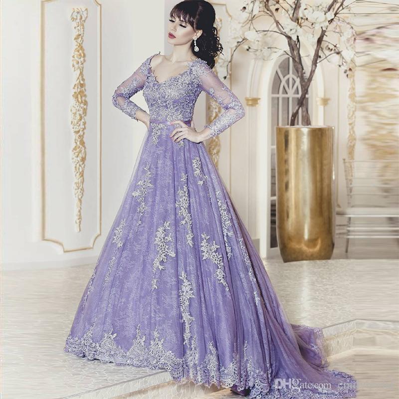 Großhandel Noble Lavendel Spitze Abendkleider Muslim V Ausschnitt ...