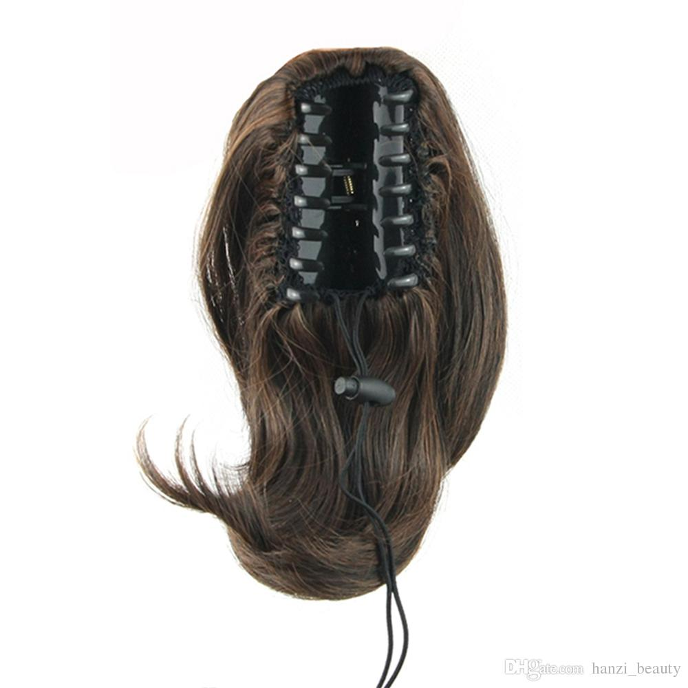 Hair Extensions & Wigs Soowee 24 Straight Synthetic Hair Clip In Hair Extension Red Gray Claw Ponytail High Temperature Fiber Hairpieces Pony Tail Synthetic Extensions