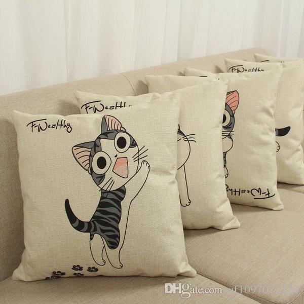 Housse de coussin chaude dessin animé passer chat et anime doux chat motif taie d'oreiller épaisse mat chat en coton couverture d'oreiller en lin