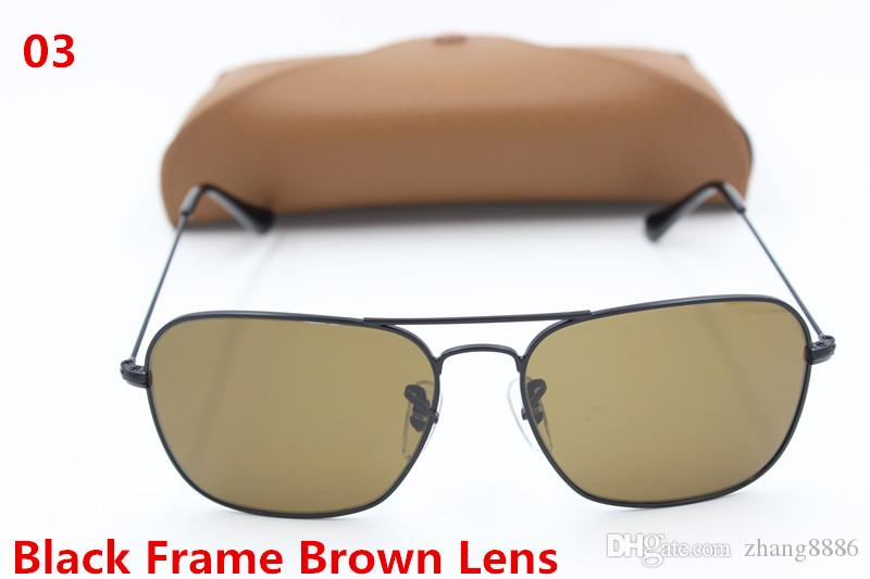 High Quality Fashion Rectangle Sunglasses For Mens Womens Gold Metal Sun Glasses Black Green 58mm Glass Lenses UV Protection Brown Case