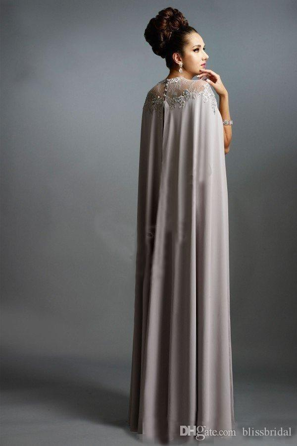 Sexy Formale Abendkleider 2016 Elie Saab Grau Mit Cape Rüschen Lace Edged Günstige Lange Sheer Prom Party Kleider Abendgarderobe Kleid