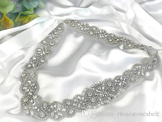 Silver Wedding Belt Clear Crystal 57cm Length Rhinestones Appliques Sewing on Bridal Sashes Wedding Dresses Sashes Bridal Accessories T48