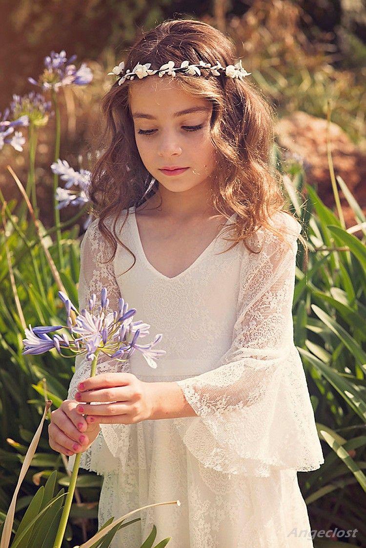2019 New Beach Flower Girl Dresses White Ivory Boho vestido de primera comunión para niña con cuello en v manga larga una línea de niños baratos vestido de novia