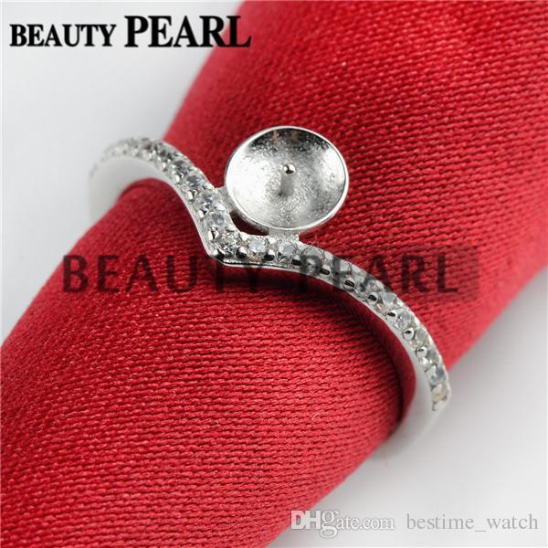 HOPEARL Schmuck-Perlen-Ring-Entdeckungen 925 Sterlingsilber Zircon DIY Herstellung Blanks Ring Base 3 Stück