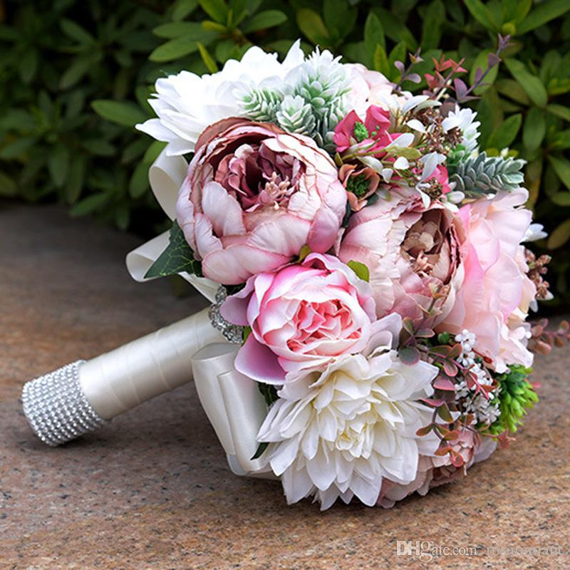 2017 Gorgeous Pink Real Touch Flowers Peony Bouquets For Wedding Peonies Bridal Centerpieces Home Decoration Blue And White Bouquet