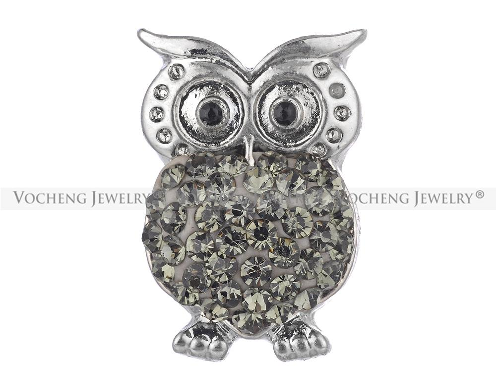Noosa Snap Buttons Cute Owl Crystal Custom Snap Button Interchangeable Jewelry Accessory Vn-408