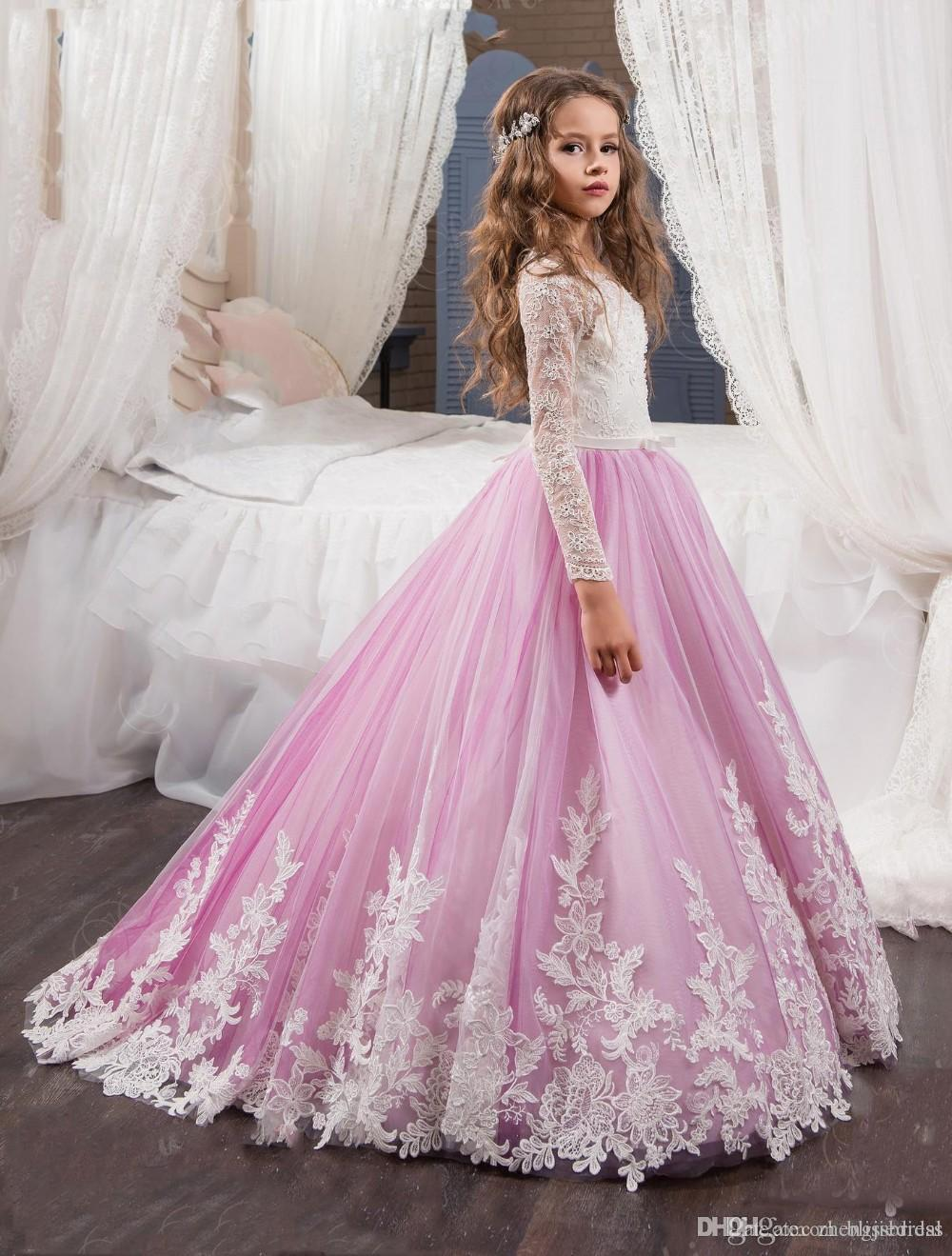 2017 Princess Long Sleeves Lace Flower Girl Dresses Vestidos Puffy Pink Kids Evening Ball Gown Party Pageant Dresses Girls