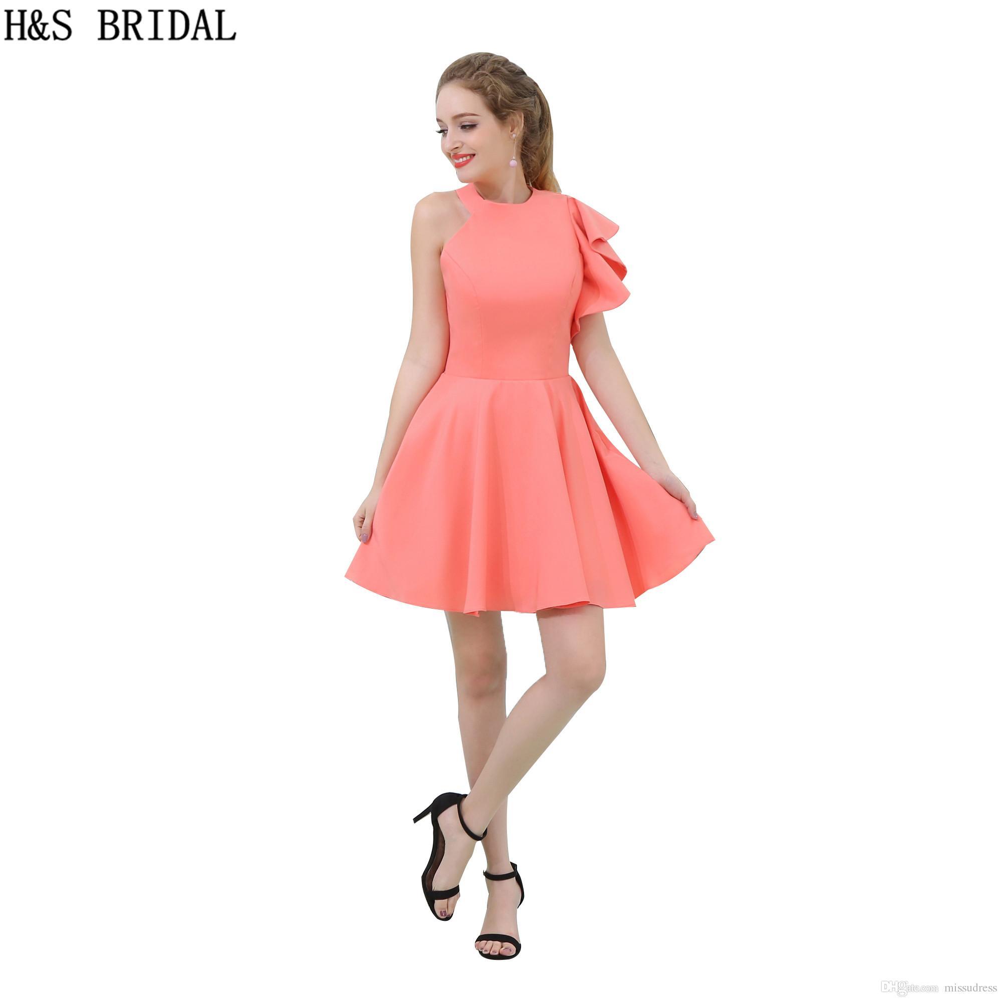 Coral Satin Bridesmaid Dress 2017 Short Cheap Jewel Neck Open Back ...