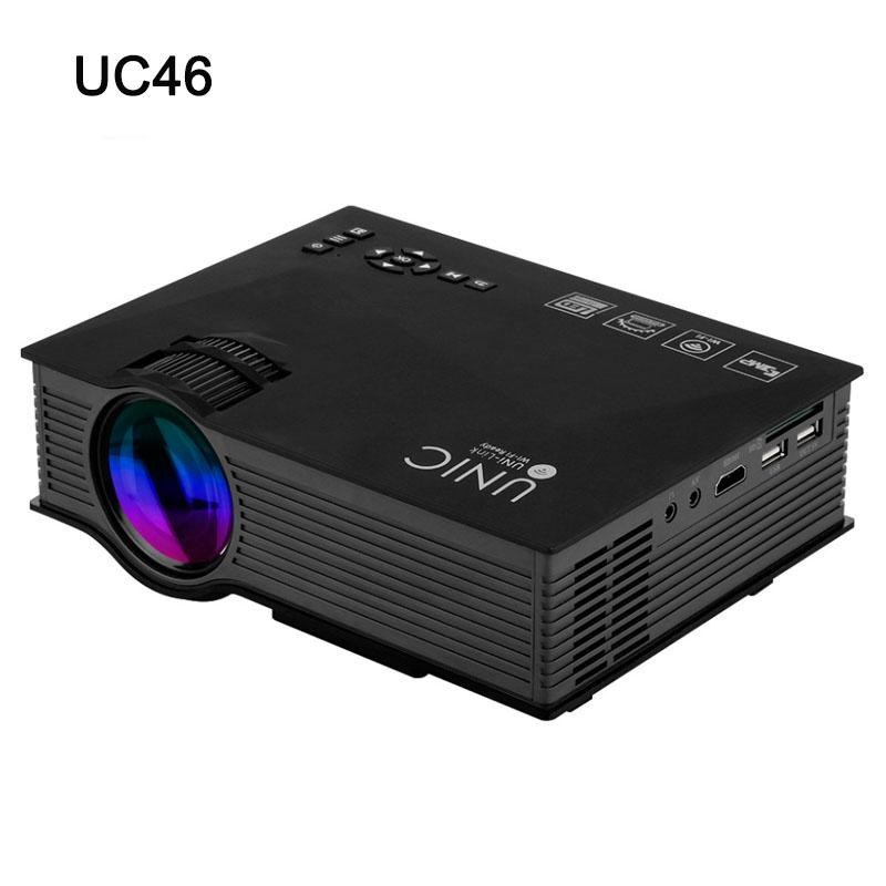 Wholesale-UC46 Original 1200 lumens Portable Beamer Mini LED WIFI Home Theater Multimedia Video Projector PC USB SD AV HDMI Proyector