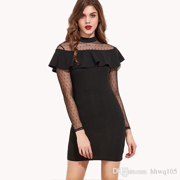 Ladies Little Black Dress Sexy Sheer Lace Ruffles Party Dress High