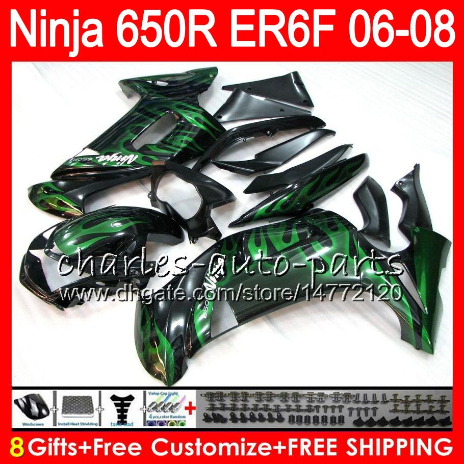 green flames 8Gifts Body For KAWASAKI NINJA 650R ER6F 06 07 08 Ninja650R 20NO75 ER 6F 06-08 ER6 F ER-6F 2006 2007 2008 Fairing Kit