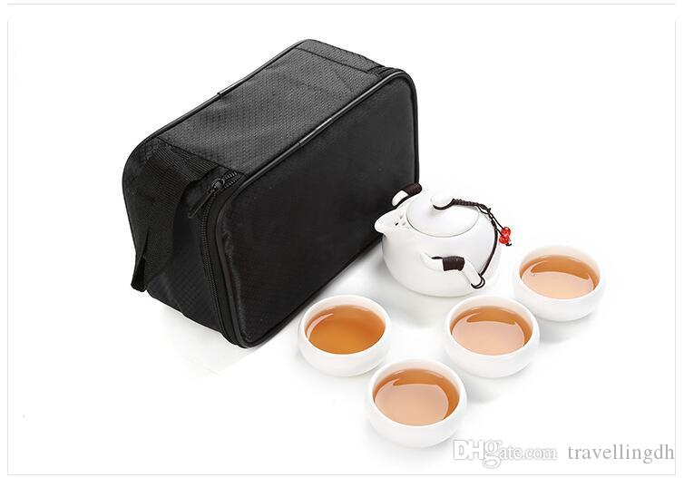 Chinese Travel Tea set1 Teapot 4 Teacups ,Beautiful and easy GongFu teapot kettle, Ceramic Portable Teaset,Coffee Cup gaiwan