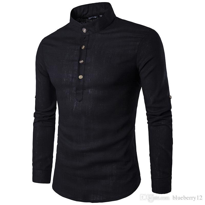 الصلبة عارضة الكتان الرجال القمصان الرجال قمصان طويلة الأكمام اللباس قميص القطن الرجال قميص زائد حجم يتأهل أوم