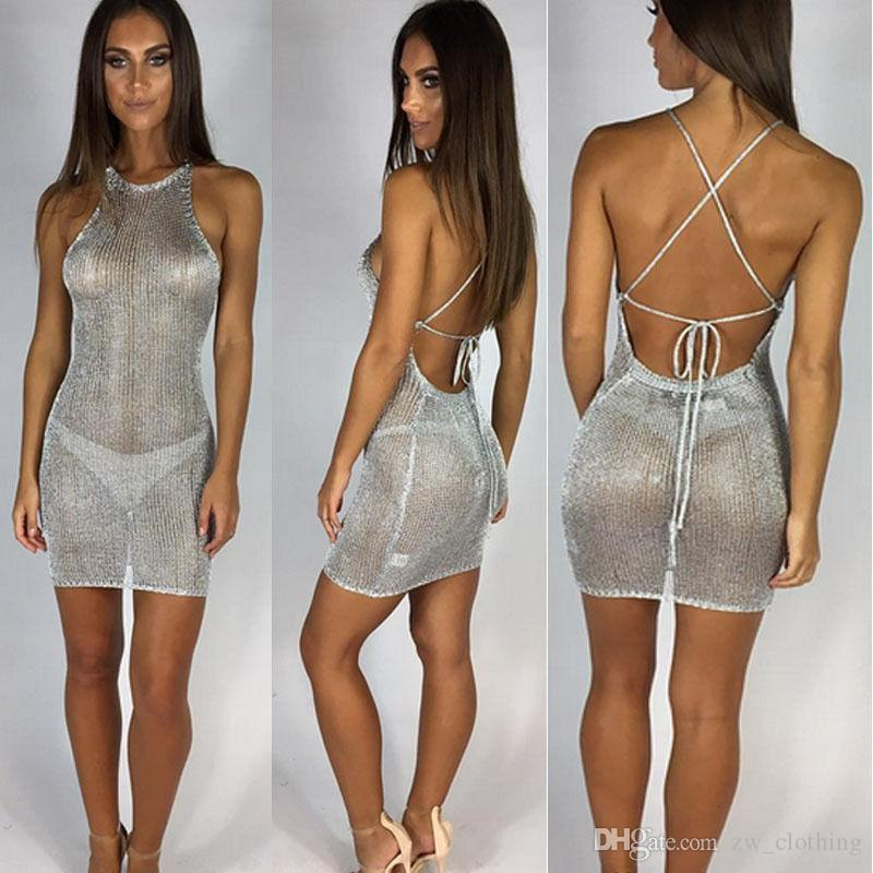 Beach Backless Holiday Hollow Out Women Dresses See ...