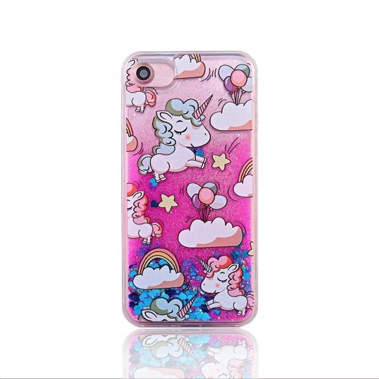 Para iphone 6 quicksand case lujo glitter stars cartoon horse hard PC phone case mayoristas para iphone 7 7plus