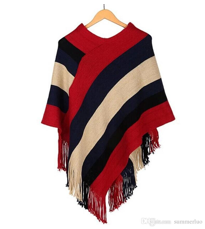 Mulheres de tricô Manto Fring Senhoras Pullover Poncho Glittery Cape Borla Xale Feminino Camisola Solta Listra Colorida Inverno Mulheres Blusa WJ006