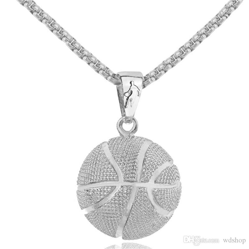Gold 3D Basketball Football Volleybal Pendant Necklace Sports Bodybuilding Fitness Stainless Steel Chain Men Statement Necklace