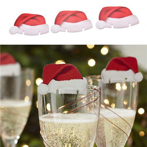 red christmas santa hat wine glass decorationjpg