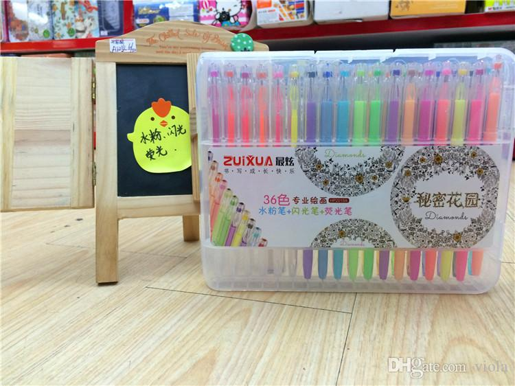 2017 Prettybaby Neon Water Chalk Gel Pens Diamond For Secret Garden Coloring Book Flash Fluorescent Pen Fine Drawing From Viola