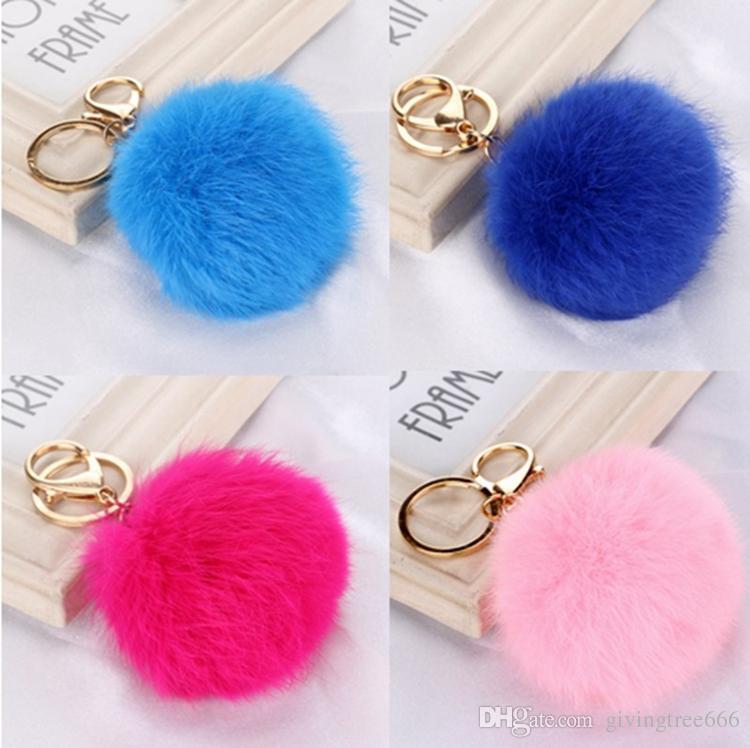 DHLfree mélangé 20 couleurs Véritable Lapin boule de fourrure porte-clés en peluche pom pom porte-clés pour porte-clés de voiture Sac Pendentif fourre-tout porte-clés