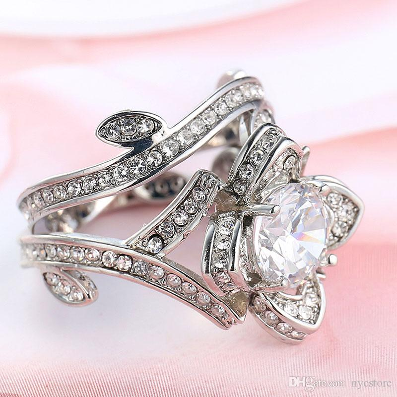925 فضة زهرة ورقة جولة قص واضح تشيكوسلوفاكيا الماس 4.50CT الزفاف خاتم الزواج