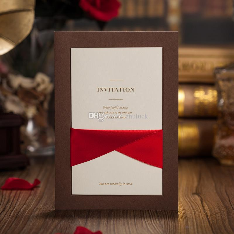 printable samples of wedding invitations%0A Cholocate Gold With Red Brown Santin Ribbon Wedding  Party  Multi Occation  Invitation Rsvp Card Printable Inner Sheet With Envelope And Seal Wedding