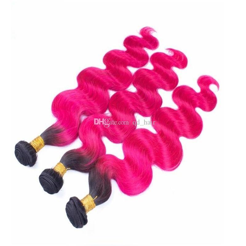 Dunkle Wurzel-Pink-Menschenhaar-Bündel mit Spitze-Schließung ombre 1b rosa brasilianische reine Körperwelle Menschenhaar 3Bundles mit Spitzenschließung