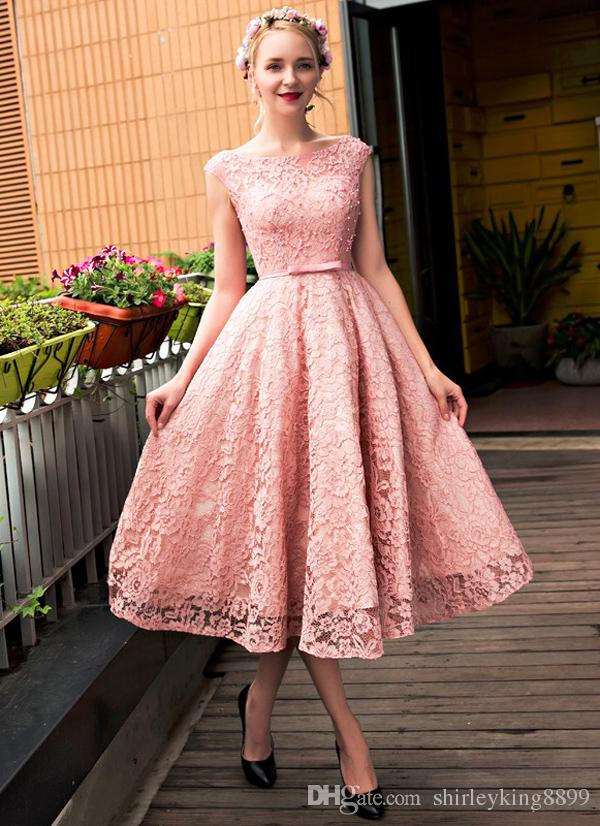 Pretty Cocktail Dresses Bateau Neck Cap Sleeves Lace With Pearls ...