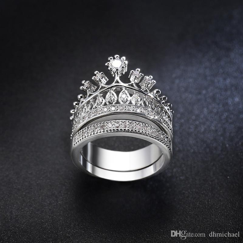 Sz6-10 Corona Diamonique Clear CZ Anillo de fiesta de compromiso de bodas de oro blanco lleno Conjuntos de anillos