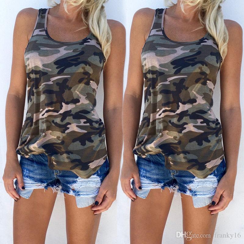 Mulheres Casual Camo Exército Sundress 2017 Moda Camuflagem Imprimir Tops Verão Sem Mangas Colher Pescoço T-shirt Slim Sexy Colete S-5XL