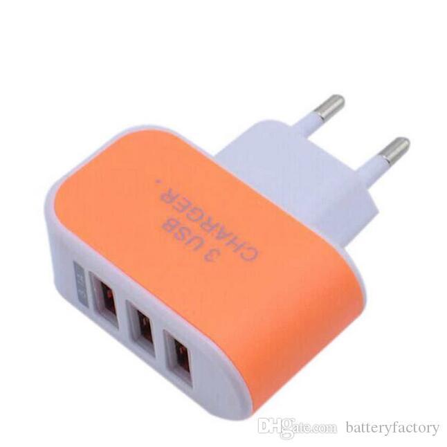 Adaptador de viaje del cargador de la pared para el cargador casero colorido del USB del enchufe de Iphone 7 LED para el cargador USB de los puertos de Samsung S6 3