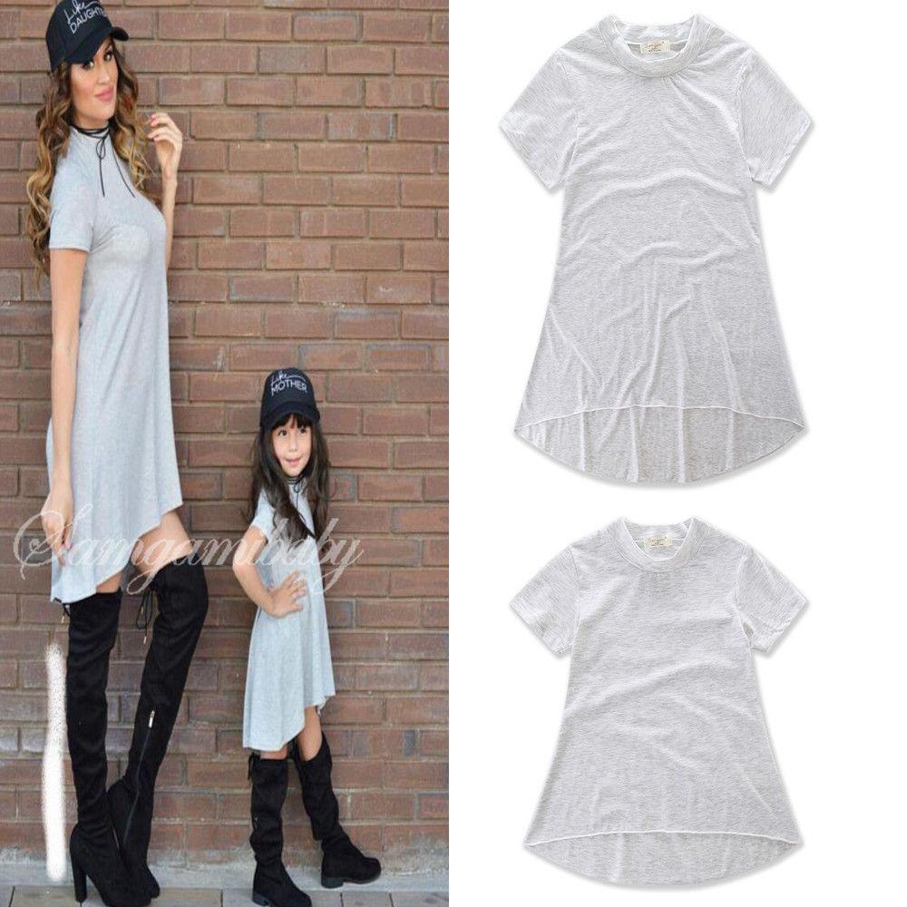 New Summer Mother Daughter Matching Dress For Family Parent child Mom Wear Cotton Short Leisure Dress Family Kids Same Grey Shirt Dresses