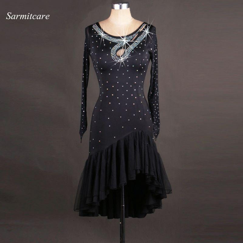 Latin Dance Dress Women Girls Latin Salsa Dance Competition Dresses Samba Costumes D0295 Rhinestones Sheer Hem Long Mesh Sleeve