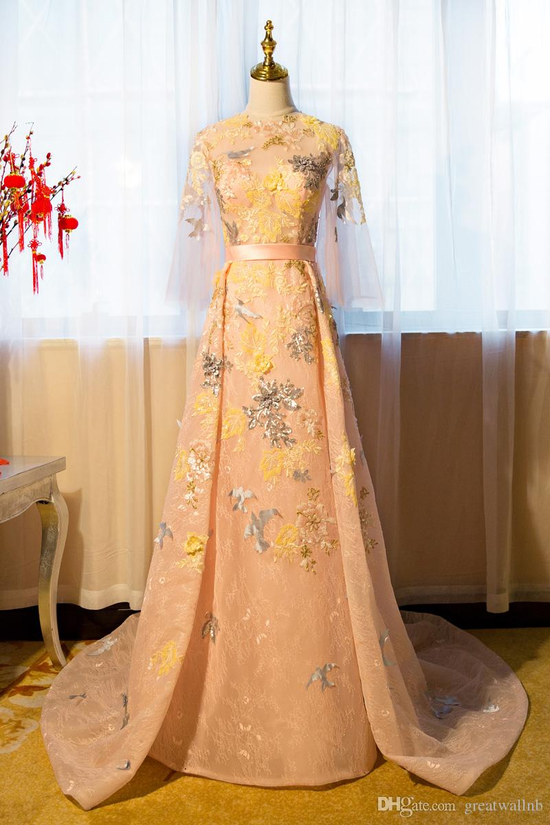 1fea9fb8a2a2 100%real Luxury Flowers Birds Applique Embroidery Gown Court ...