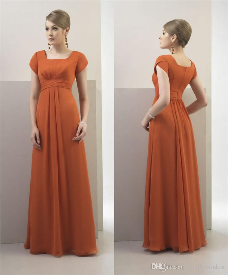 Burnt Orange Chiffon 2017 Modest Bridesmaid Dresses Long With Short ...