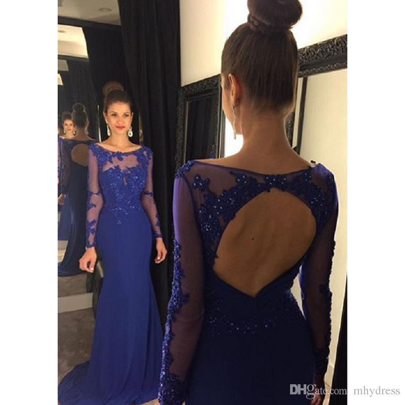 Royal Blue Abiti da sera formale 2017 Nuovo arrivo Appliqued Tulle Sheer manica lunga abiti da promenade Mermaid Illusion Women Dress
