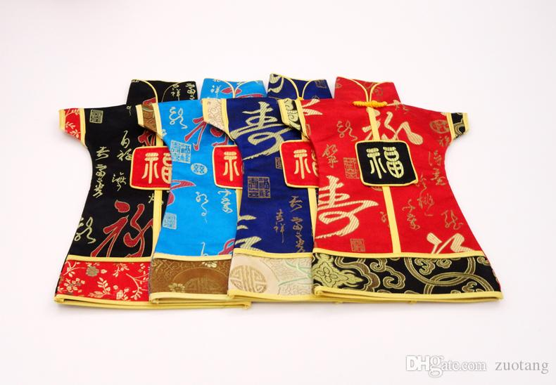 Vintage Chinese Dress Wine Bottle Decoration Covers Bottle Bags Christmas Wine Cover Silk Brocade Wine Bottle Pouches fit 750ml
