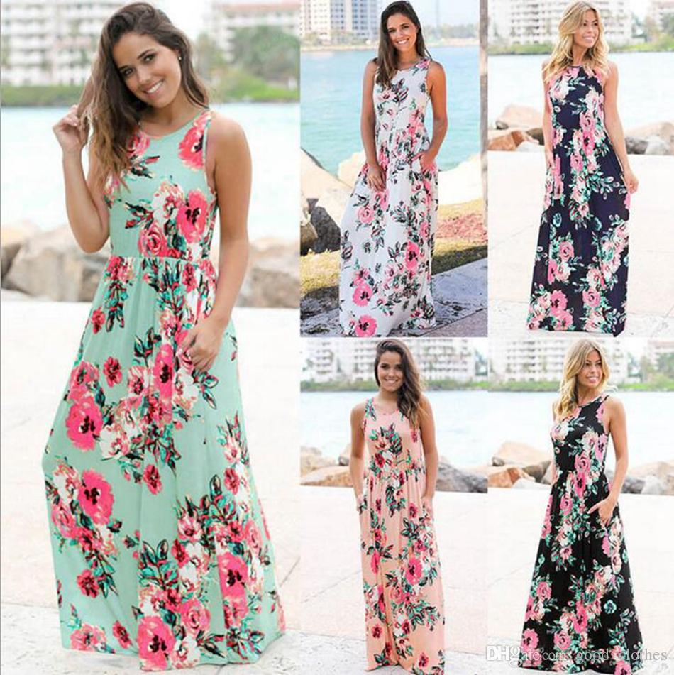 159a977828d Women Floral Print Sleeveless Boho Dress Evening Gown Party Long Maxi Dress  Summer Sundress Casual Dresses OOA3240 Sundress Women Black Womens Dresses  From ...