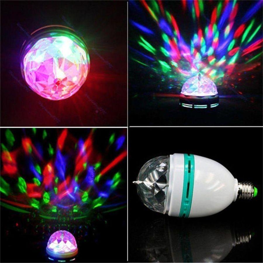 풀 컬러 LED 크리스탈 무대 조명 자동 회전 무대 효과 DJ 램프 미니 무대 조명 전구 조명 3W E27 RGB