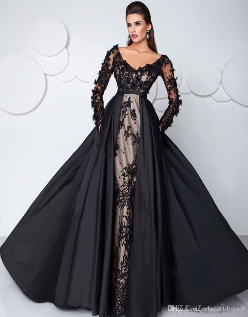 reputable site 2bd00 2d22c 2017 Abend High-End benutzerdefinierte Abendkleid-Partei-Kleid  Saudi-Arabien Sexy Schwarz Abendkleider mit langen Ärmeln Illusion Spitze  Formale Klei