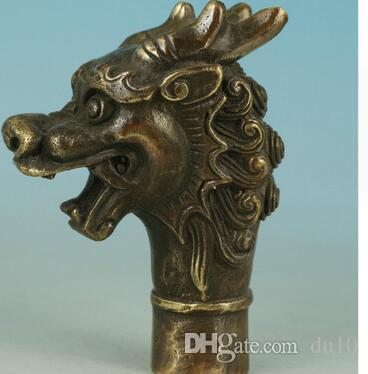 Asya Çin Eski Bronz El Oyma Ejderha Heykeli Baston Kafa