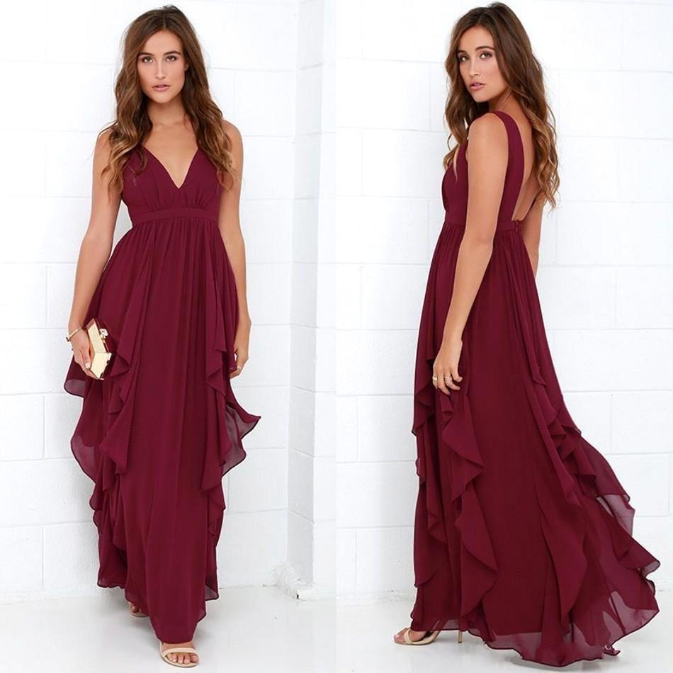 2017 Cheap Chiffon Burgundy Bridesmaid Dresses V Neck